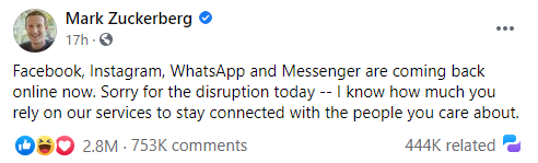 Quote from Mark Zuckerberg's publication where he states 'Facebook, Instagram, WhatsApp and Messenger are coming back online now. Sorry for the disruption today -- I know how much you rely on our services to say connected with the people you care about.'